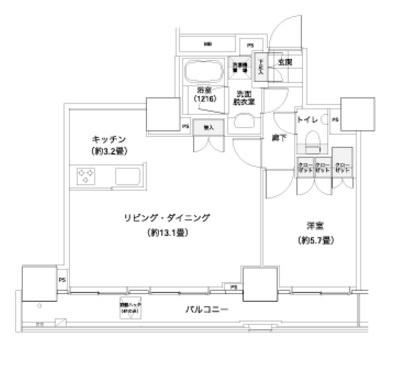 パークキューブ愛宕山タワー[303号室]の間取り パークキューブ愛宕山タワー