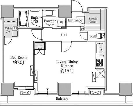 ベルファース芝浦タワー[1704号室]の間取り ベルファース芝浦タワー