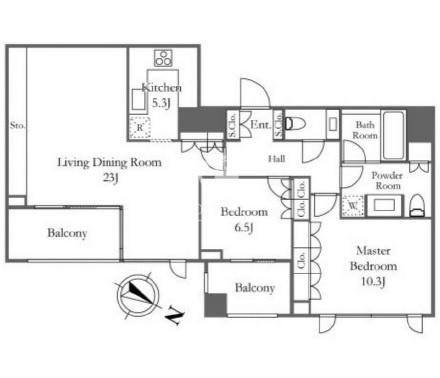フォレセーヌ赤坂氷川町[2階号室]の間取り フォレセーヌ赤坂氷川町