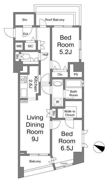 グランドパーク恵比寿センシュアス[6階号室]の間取り グランドパーク恵比寿センシュアス