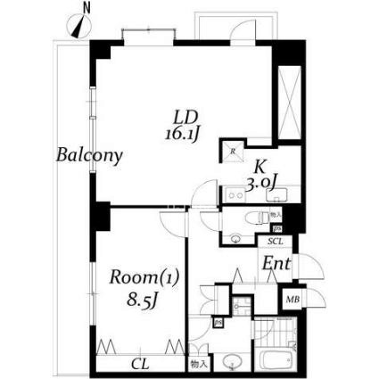 白金台アパートメント[704号室]の間取り 白金台アパートメント