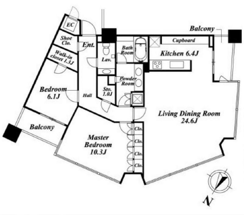 パークコート赤坂ザタワー[19階号室]の間取り パークコート赤坂ザタワー