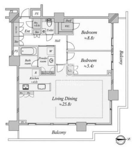 ベイクレストタワー[30階号室]の間取り ベイクレストタワー
