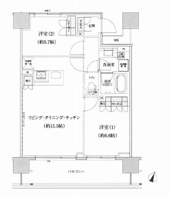 パークハビオ渋谷本町レジデンス[1106号室]の間取り パークハビオ渋谷本町レジデンス