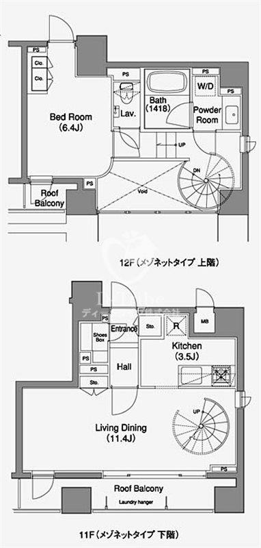 MFPRコート赤坂見附[1103号室]の間取り MFPRコート赤坂見附