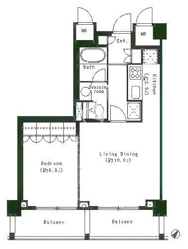パークキューブ目黒タワー[512号室]の間取り パークキューブ目黒タワー