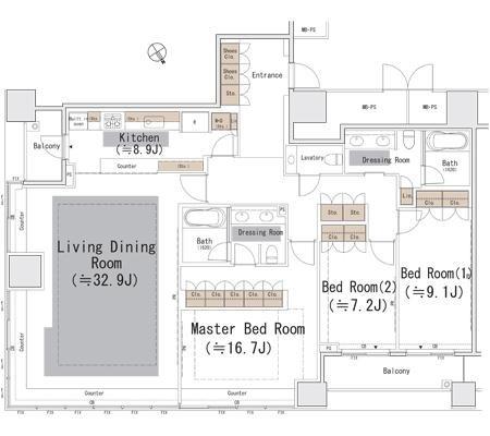 ザ・パーク・レジデンシィズ・アット・ザ・リッツ・カールトン東京[405号室]の間取り ザ・パーク・レジデンシィズ・アット・ザ・リッツ・カールトン東京