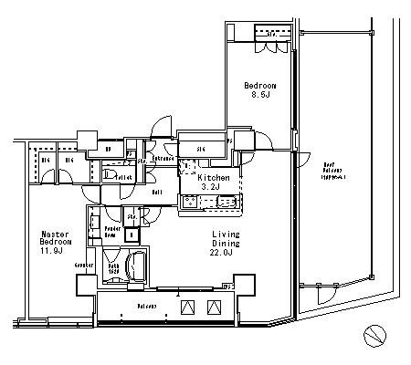 MFPR目黒タワー[2404号室]の間取り MFPR目黒タワー