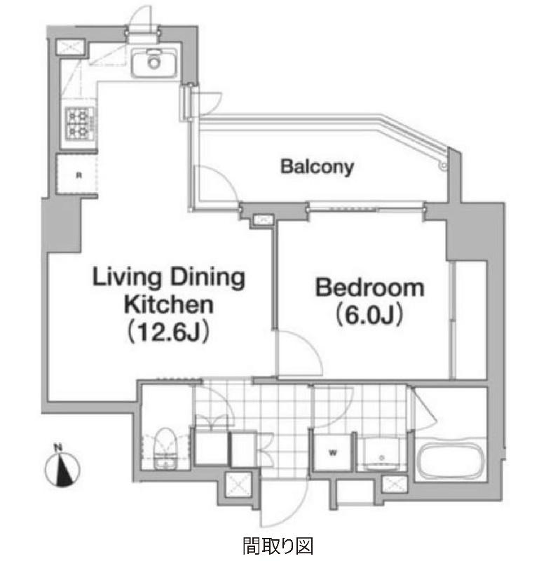 アパートメンツタワー六本木[1401号室]の間取り アパートメンツタワー六本木