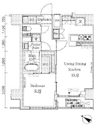 ベルファース西五反田[1502号室]の間取り ベルファース西五反田