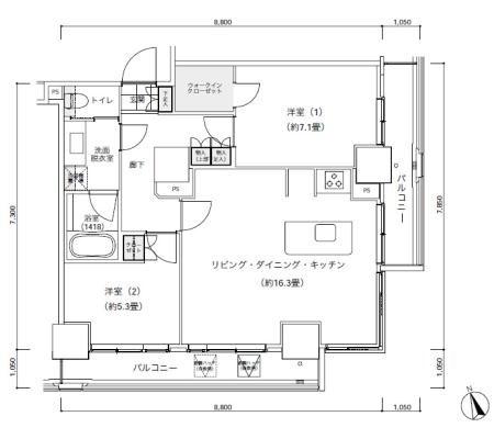 パークキューブ愛宕山タワー[1503号室]の間取り パークキューブ愛宕山タワー