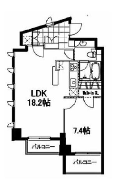 フレンシア麻布十番サウス[804号室]の間取り フレンシア麻布十番サウス